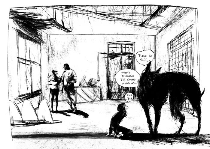 Alix Otto talking to the black dog in Lucy Sullivan's BARKING