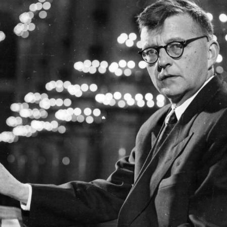 Dmitri Shostakovich at his piano.