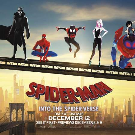 Spider-Man: Into the Spider-Verse characters standing to the backdrop of New York