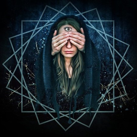 A psychic woman with a third eye, her hands covering her other two