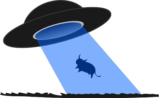 An alien spacecraft abducting a cow