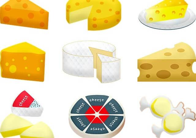 An assortment of cartoon cheese