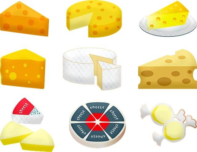 An assortment of cartoon cheese