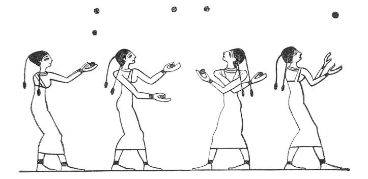 Female ancient Egyptian jugglers engaging in a game
