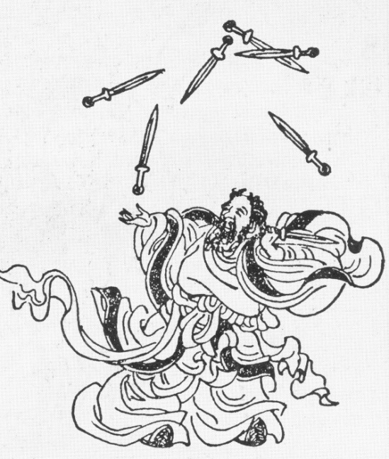 Lanzi juggling seven swords from the Ming Dynasty