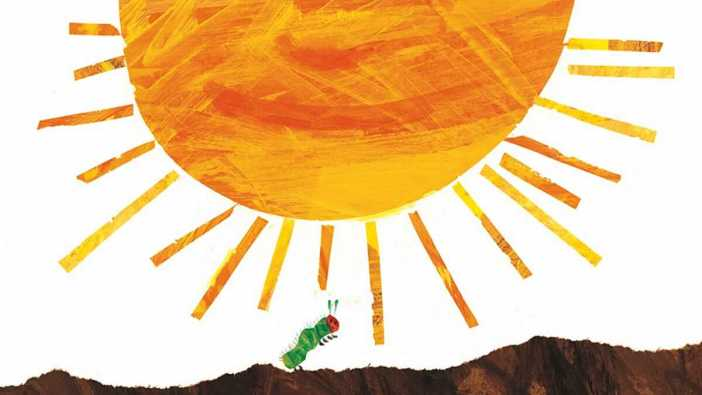 The Very Hungry Caterpillar near a great big sun