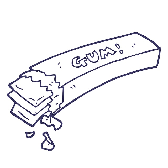 A cartoon drawing of a packet of chewing gum