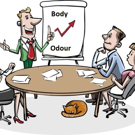 A team of employees at work discussing body odour