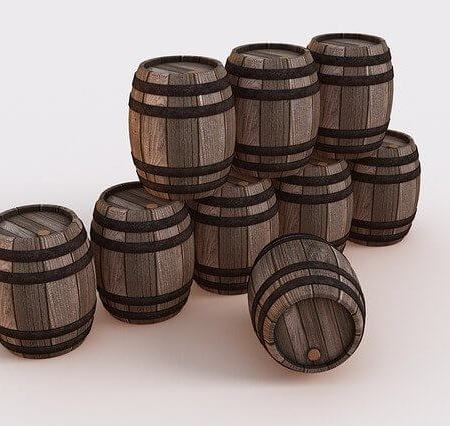 Barrels lined up in a row