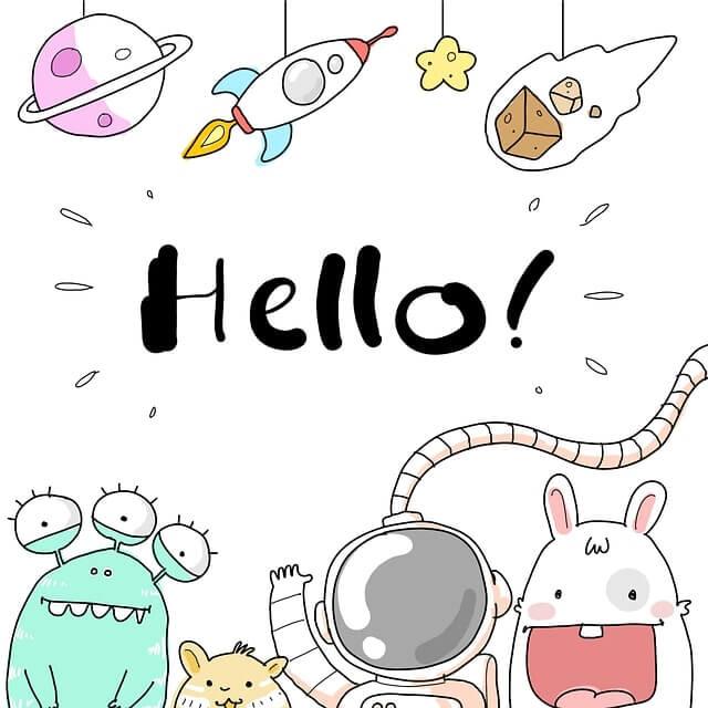 Cute cartoon aliens saying 'Hello!'