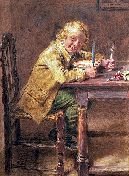 William Henry Hunt about to eat a mince pie