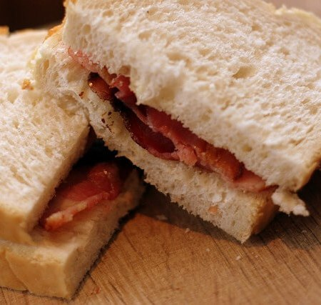 A BLT bacon butty with white bread