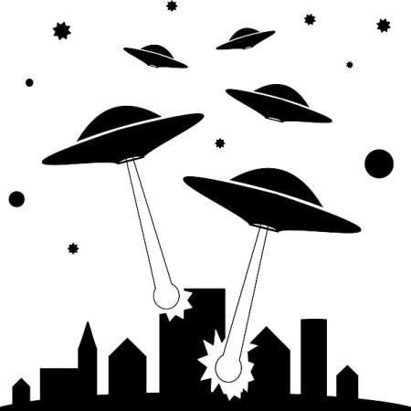 Alien spaceships shooting at a city