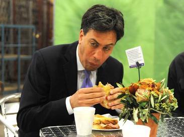 Ed Miliband eating a bacon sandwich