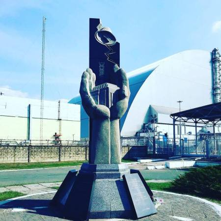 The Chernobyl Sarcophagus Memorial next to the Chernobyl Power Plant in Ukraine