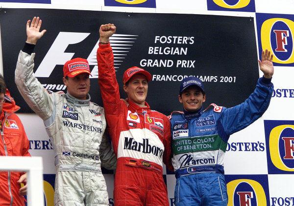 The podium at the Spa 2001 grand prix