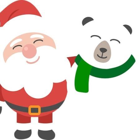 A cheerful cartoon Santa hugging a polar bear
