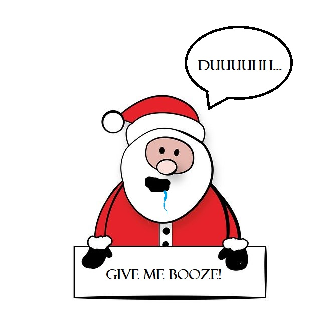A drunk and hangover Santa asking for alcohol