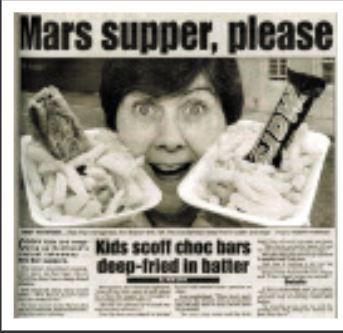Deep fried Mars Bar news article from 1995