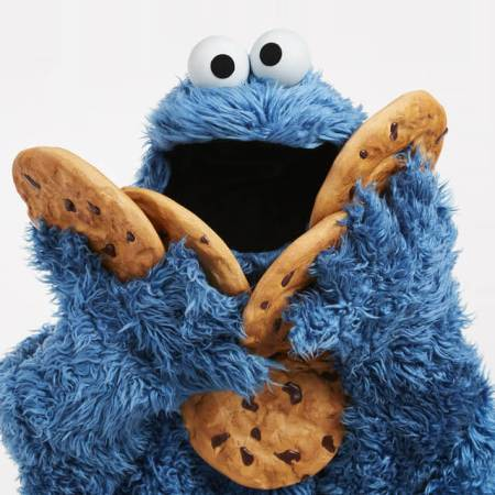 The Cookie Monster holding cookies